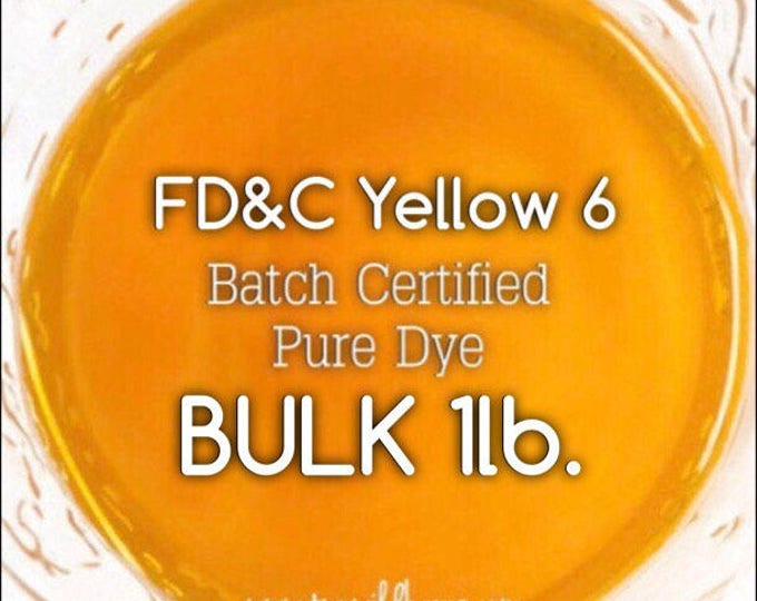 CLEMENTINE Water Soluble DYE, Batch Certified FD&C Yellow 6, 93% Pure Dye, Cosmetic Powdered Water Colorant, Bulk 16oz