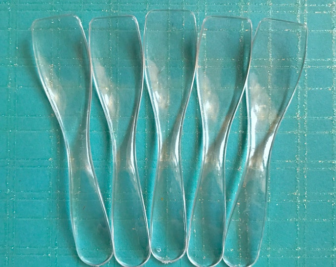50- Curvy Clear Cosmetic Spoons, For Sugar Scrub, Body Butter, Whipped Soap, Frosting, Testers Etc. Two Wild Hares
