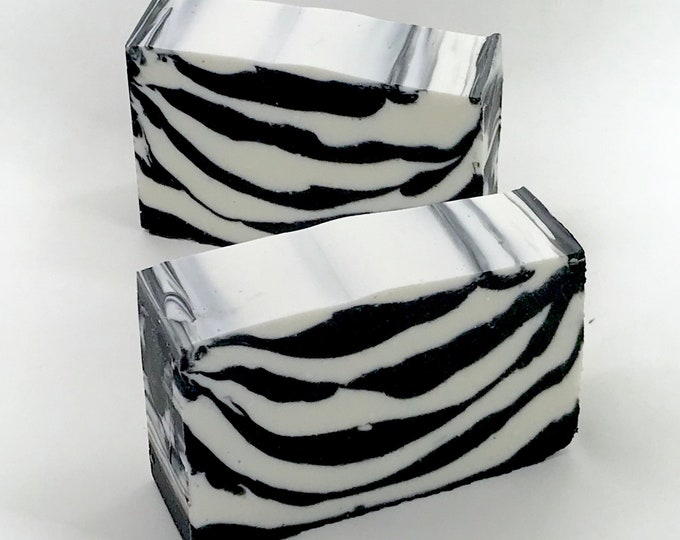 ZEBRA Charcoal Handmade Soap, Unscented, Bamboo Charcoal, 4oz, Two Wild Hares