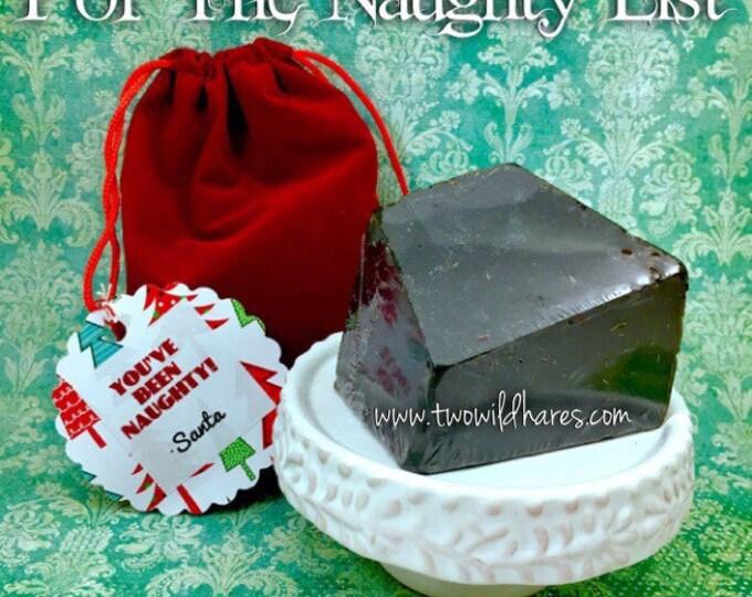 LUMP O'COAL Christmas Soap in Red Velvet Santa Bag For Stocking Stuffers, Naughty List, Two Wild Hares