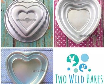 3 HEART COLLECTION Bath Bomb & Baking Molds, (SweetHeart, 3 Tiered Heart, Lacy Scalloped Heart) Metal, Valentines, Two Wild Hares