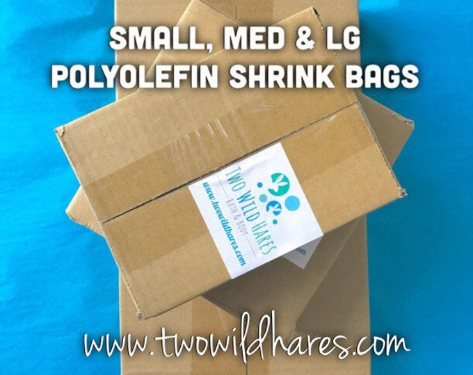 1500 POLYOLEFIN Bag Set, Small/Med/Large,500 ea size, 75g, (Smell Thru Plastic) Best Bath Bomb Shrink Wrap on the Market, Two Wild Hares