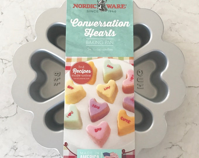 CONVERSATION HEARTS Nordic Ware Cakelet Baking Pan (Bath Bomb Mold), 6 Cavity, 3.5-4 oz, Heavy Cast Aluminum, Valentines Day,Two Wild Hares