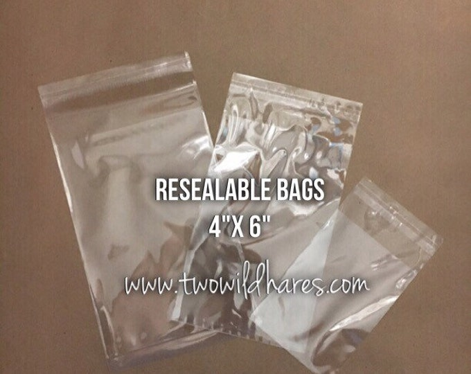 "500- 4""x6"" POLYPRO, Resealable Tape Strip Bags, Clear as Glass, Ideal Wax Melt Packaging, Free Usa Ship, Two Wild Hares"