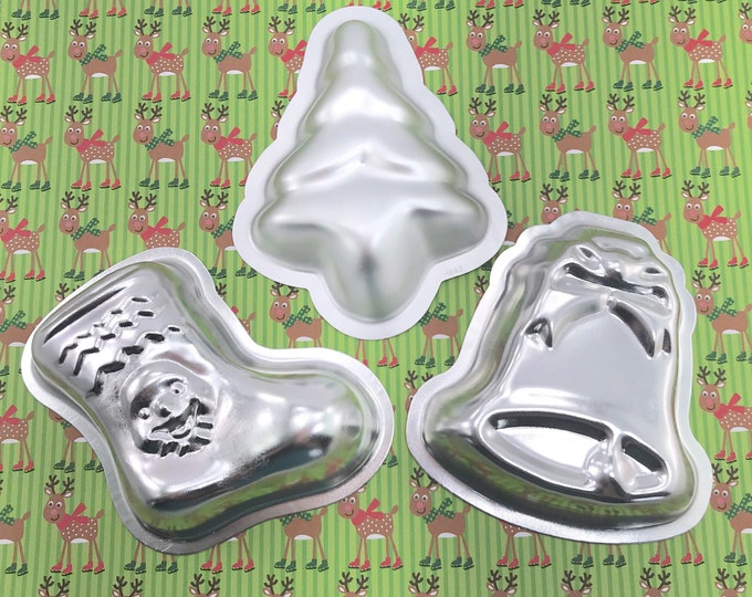 CHRISTMAS SET (Jingle Bells/Christmas Tree/Stocking) Bath Bomb & Baking Molds, Metal, Christmas, Winter, Snow, Two Wild Hares