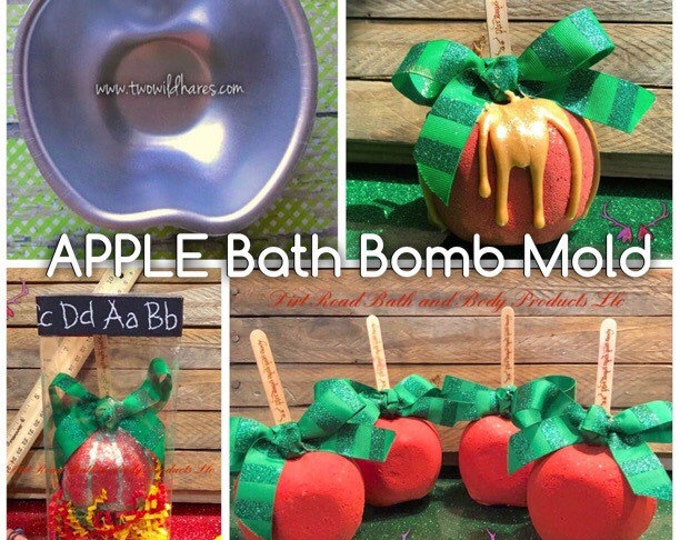 "APPLE Bath Bomb & Baking Mold, Metal, 3 3/16"" x  1  1/2"" Deep (1 piece) Teacher Gift, Back To School, Two Wild Hares *read description*"