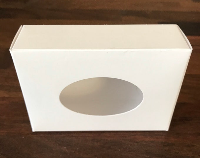 "25- Oval WHITE Window Soap Boxes, 2 3/4 x 3 3/16 x 1 3/16"" Eco Friendly Recyclable Soap Packaging, Two Wild Hares"