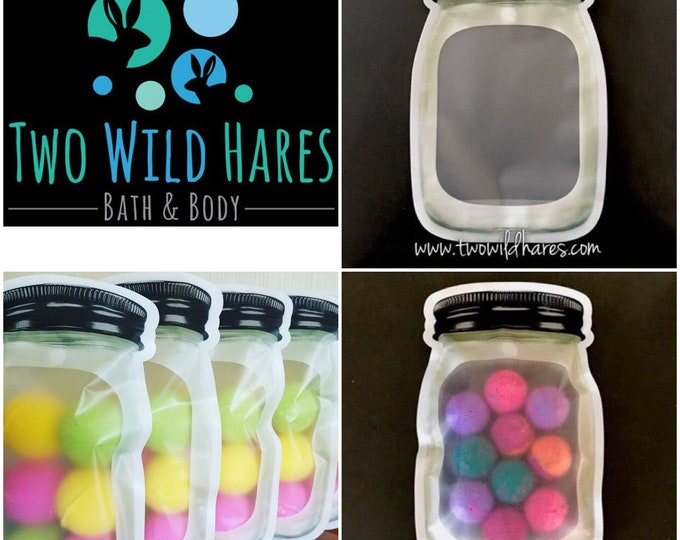 "60-Large MASON Jar Bag 6.625"" x 9.875"" x 2.75"" Stand Up Pouches,  Zipper Seal, Bath Products, Food Safe  (5 packs of 12) Etc, Two Wild Hares"