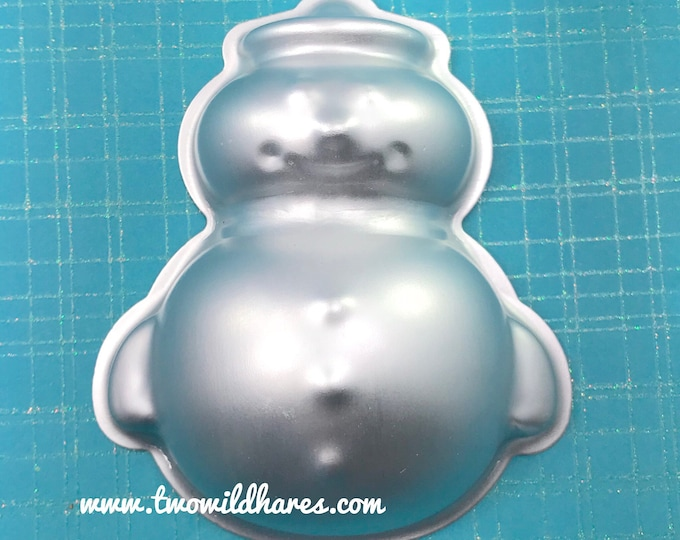 "FAT & HAPPY SNOWMAN Bath Bomb and Baking Mold, 3 3/4"" long, Metal, Christmas, Winter, Snow, Two Wild Hares"