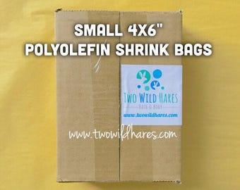 "500-SM 4x6"" POLYOLEFIN Shrink Bags, (Smell Through Plastic), 75 g, BEST Wrap Available for Soap, Bath Bombs Etc"