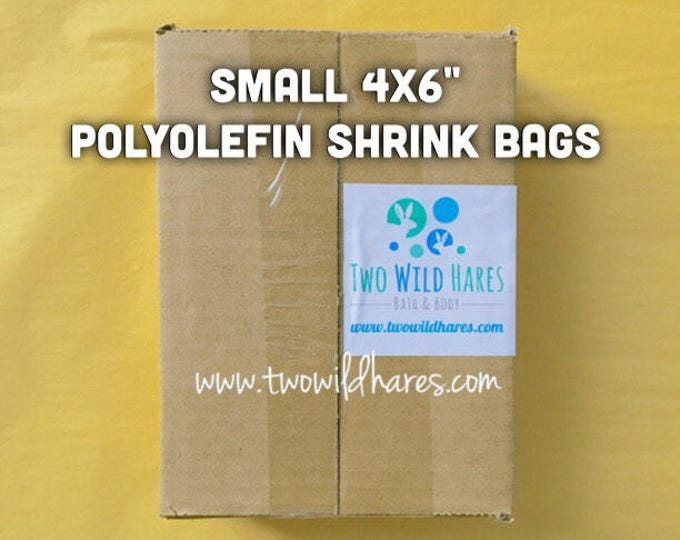 "500-SM 4x6"" POLYOLEFIN Shrink Bags, Free Us Ship, (Smell Through Plastic), 100g, BEST Wrap Available for Soap, Bath Bombs, Two Wild Hares"