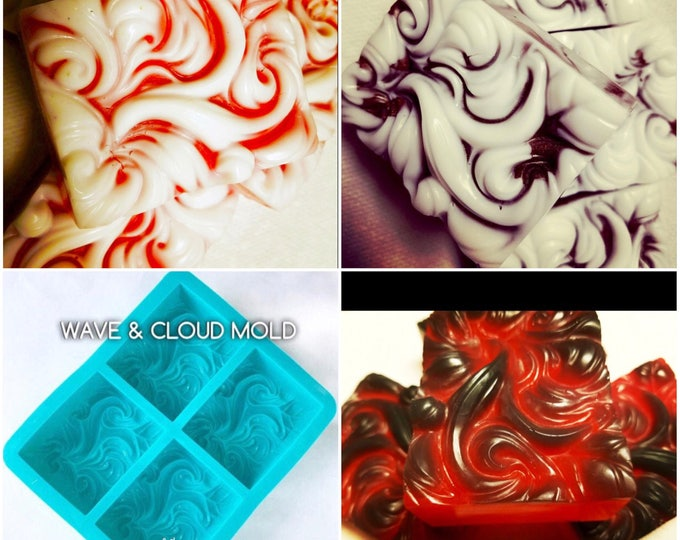 4 WAVE, CLOUD & Smoke Molds (16 cavities) @ Bulk Price, 3.5 oz each, Silicone, Ocean, Wind, Smoke, Water, TWH Exclusive