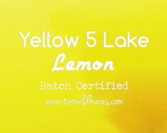 LEMON LAKE FD&C Yellow 5 Lake, 42% High Dye Load, Batch Certified, Powdered Cosmetic Colorant