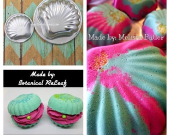 """CLAMSHELL Bath Bomb & Baking Mold Set,  Large (4"""") and Small ( 2/14"""") Clam Molds, Metal, Two Wild Hares"""