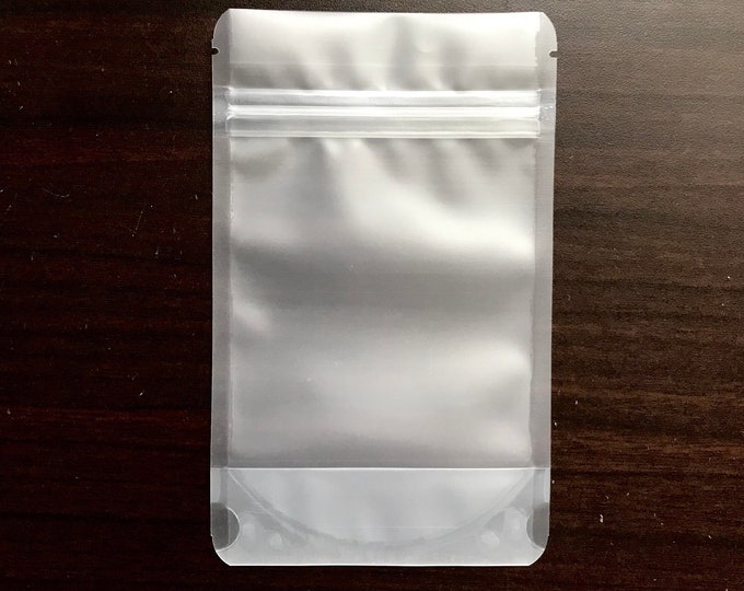 """100-4x6"""" FROSTED STAND Up Pouch/Bag, Heavy Duty Packaging, Tear Notch, Zipper Seal, Impulse Sealable, Two Wild Hares"""