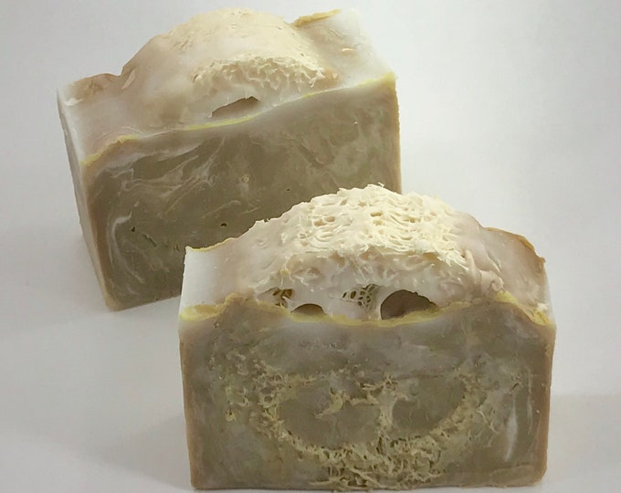 TOBACCO & SANDALWOOD LOOFAH Handmade Soap, Rustic Men's Soap Embedded With Loofah, 4oz, Two Wild Hares