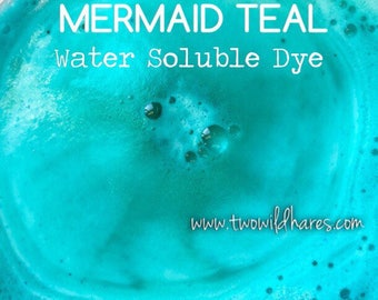 MERMAID Teal Water Soluble DYE, 90% Pure Dye, Cosmetic Colorant, FDA Legal for Use in For Sale Products, 1 oz Container Pack, Two Wild Hares