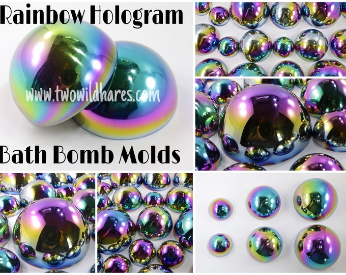 "All 3 Sizes of HOLOGRAPHIC Rainbow Bling Bath Bomb Molds, (1.65"", 2.5"" & 3.15"") Stainless Steel, DIY, Make All the Sizes, Two Wild Hares"
