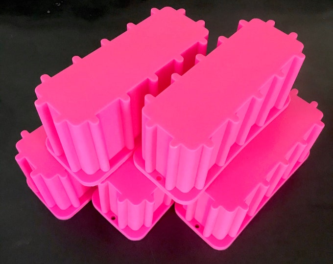 "5 Pack Mini TALL Skinny Soap Loaf Mold, 1.3lb / 21oz Narrow Bar, 6""L x 2""W x 3""D, Silicone, Heat Safe, MP, Cold Process, Two Wild Hares"