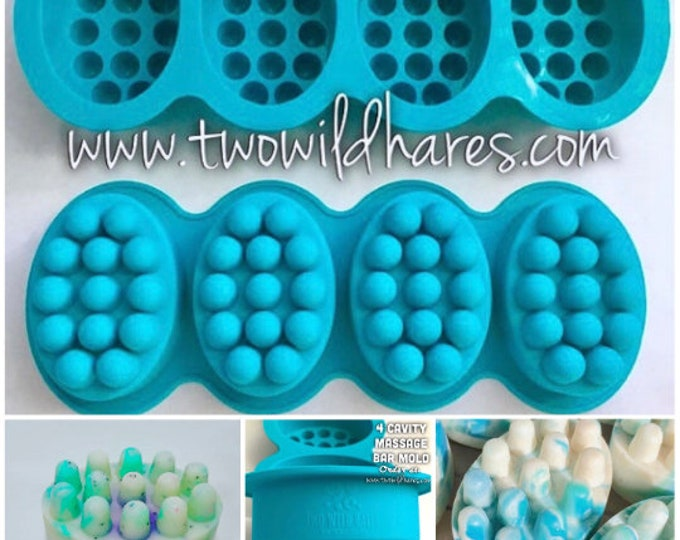 4 Pack-MASSAGE BAR Molds Silicone, 4.5 oz ea cavity, (16 Total Cavities), Professional Grade Mold, DIY Soap, Free Usa Ship, Two Wild Hares