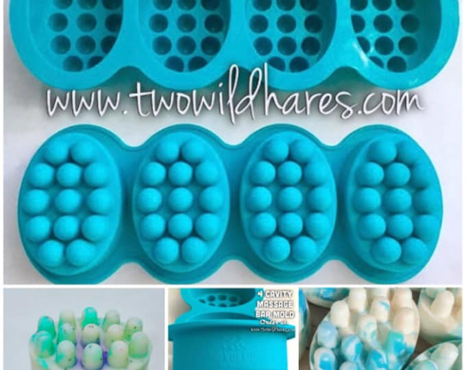 4-MASSAGE BAR MOLDS Silicone, 4.5 oz ea cavity, (16 Total Cavities), Professional Grade Mold, Two Wild Hares