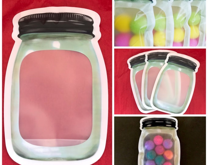 "12-Sm/Med MASON Jar Bags (5.25x7.87""), Stand Up Pouches, Impulse Sealable, For Bath Salt, Bomb Dust, Milk Bath, Bath Tea Etc"