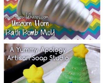 "UNICORN HORN Bath Bomb Mold, Ice Cream Cone, Christmas Tree, Metal, 3 1/4"" tall x 2 3/4"" wide, Two Wild Hares"