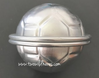 "SOCCER BALL Bath Bomb Mold, 2 Piece Set, 2.75"" Ball, Metal, Two Wild Hares"