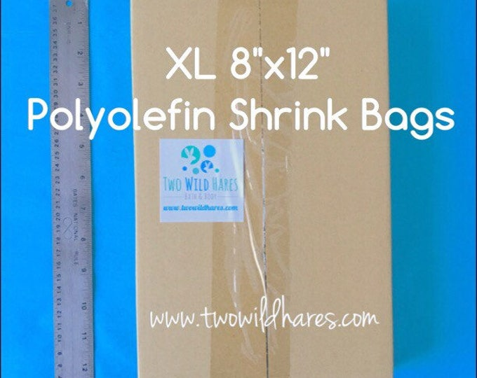 "500- XL 8x12"" Polyolefin Smell Thru Shrink Bags, Free Usa Ship,  XL Items, 75-80g, DIY Bath Bomb Wrap, Two Wild Hares"
