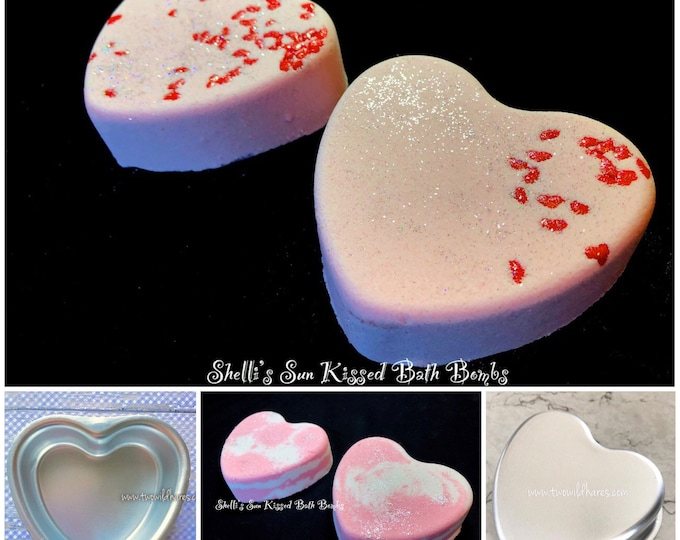 "SWEETHEART Bath Bomb Mold, Metal, 3 3/4"" across, 1 3/16"" Deep, Perfect Heart Shape, Two Wild Hares"