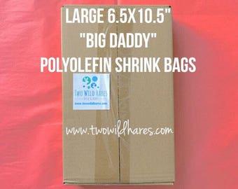 """500-LG 6.5x10.5"""" POLYOLEFIN Shrink Bags (Smell Thru Plastic) 75 g, Fits 4"""" Big Daddy Bath Bomb! Bath Bomb Wrap, Two Wild Hares"""
