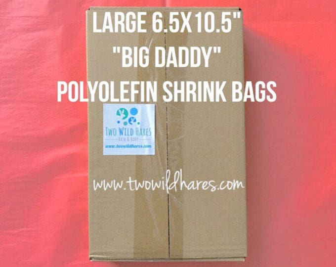 "500-LG 6.5x10.5"" POLYOLEFIN Shrink Bag Wrap (Smell Thru Plastic) 75 g, Free Usa Ship, Fits 4"" Big Daddy Bath Bomb, DIY, Two Wild Hares"