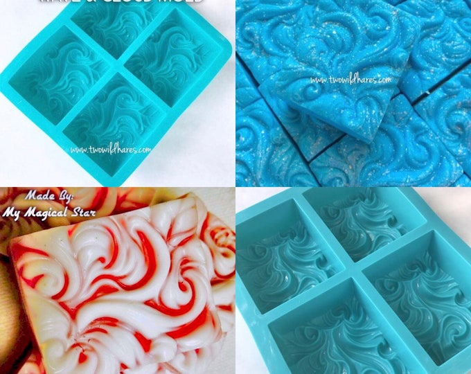 2 Pack- WAVE, CLOUD & Smoke Soap Mold, 3.5oz Cavity, Silicone, Ocean, Wind, Smoke, Water, 8 cavities total, Two Wild Hares