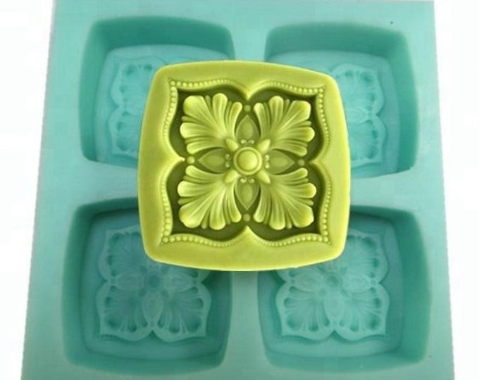 "CELTIC FLOWER Silicone Soap Mold, 2.75""'x 1"", Heavy Duty, 4 Cavities, Two Wild Hares"