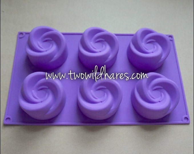 WHIRLIGIG Silicone Soap Mold, 6 - 4oz cavities, Lotion Bars, Jelly Soap, 24 oz Total, DIY Soap, Free Usa Ship, Two Wild Hares