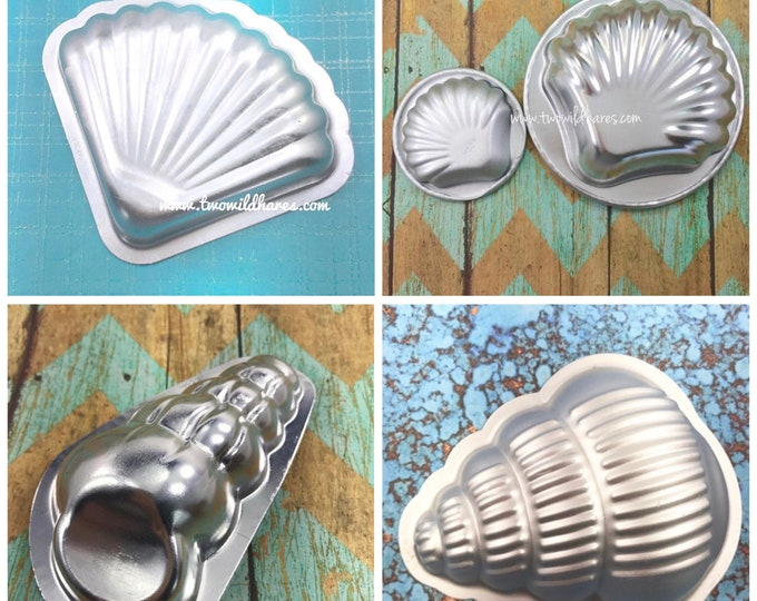 ALL THE SHELLS 5 Bath Bomb & Baking Mold Collection, Metal, (Large and Small Clam, Mermaid Fan, Large and Small Seashell) Two Wild Hares