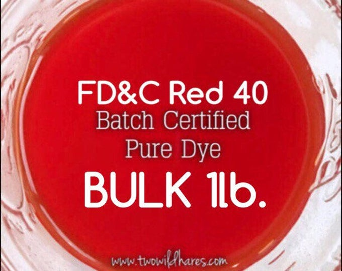 1lb Bulk BLOOD ORANGE Water Soluble DYE, Fd&c Red 40, 94% Pure Dye, Batch Certified, Cosmetic Powdered Water Colorant, Two Wild Hares