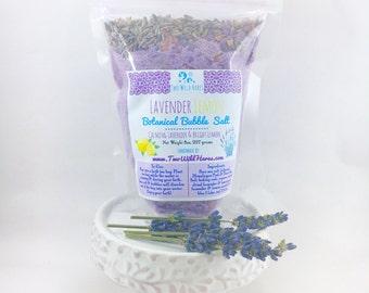 LAVENDER LEMON Botanical BuBBle Salt, Essential Oil, Mineral Rich Salt, Botanicals and Bubbles, 7oz
