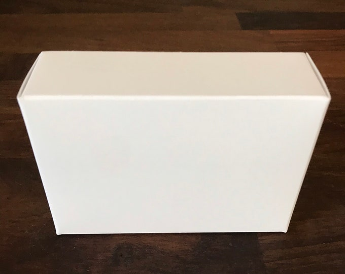 "25-WHITE Boxes, 100% Recyclable, 2 3/4"" x 3 13/16"" x 1 3/16"" deep, Eco Friendly Soap Packaging, Two Wild Hares"