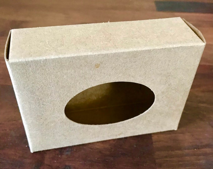 """25- Oval KRAFT Window Soap Boxes, 2 3/4 x 3 13/16 x 1 3/16"""" Eco Friendly Recyclable Soap Packaging, Two Wild Hares"""