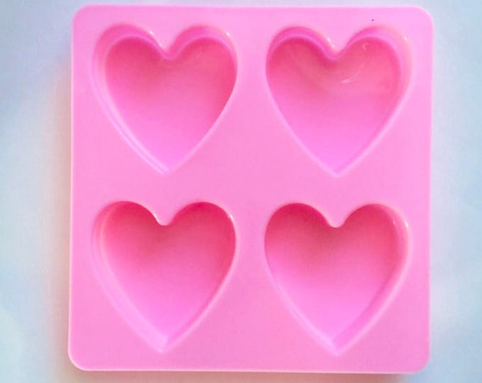 """HEART Mold, Silicone, 4 Cavities, 1.7 oz cavities, 2 1/4"""" x 3/4"""" (approx), Two Wild Hares"""