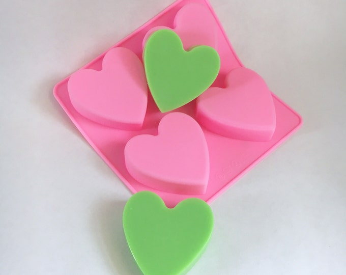 "HEART Mold, Silicone, 4 Cavities, 1.7 oz cavities, 2 1/4"" x 3/4"" (approx), DIY Soap, Free Usa Ship, Two Wild Hares"