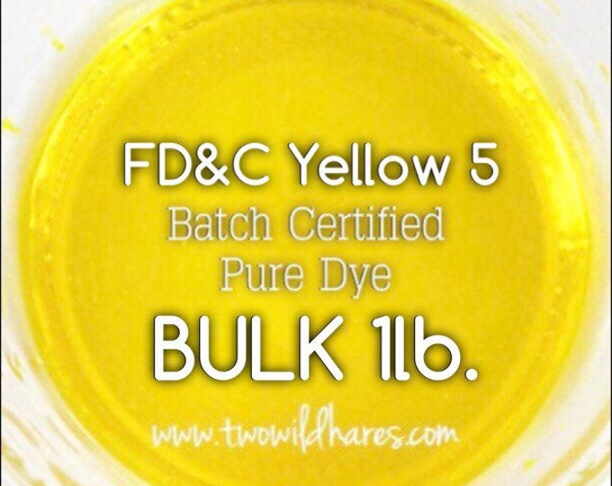 1lb Bulk LEMON Water Soluble DYE, Bath Bombs, Cosmetics, Batch Certified FD&C Yellow 5, Powdered Water Soluble Colorant, Two Wild Hares