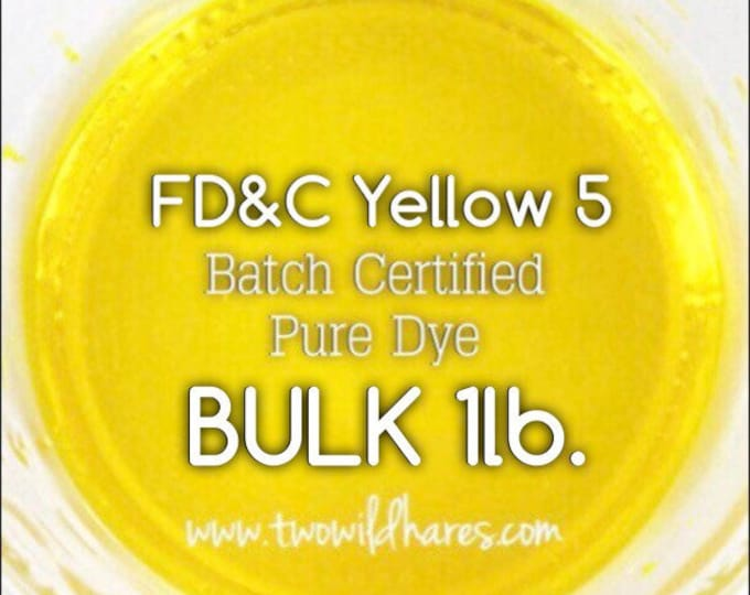 LEMON Water Soluble DYE, Batch Certified FD&C Yellow 5, Cosmetic Powdered Water Soluble Colorant, Bulk 16oz