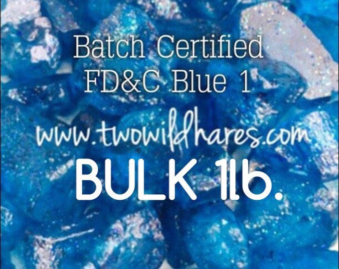 1lb. Bulk ELECTRIC BLUE Water Soluble Dye, Batch Certified Fd&c Blue 1, 86%, Cosmetic Powdered Water Colorant, 16 oz, Two Wild Hares