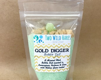 GOLD DIGGER BuBBle Salt, Lemon-Lime & Vebena with Hidden Gems and Gold Salt Bling Nuggets 7 oz