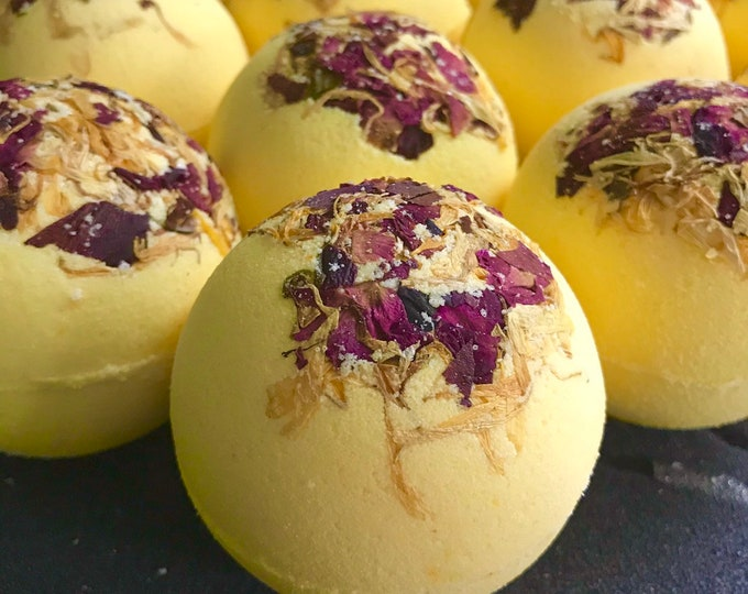 SPRING HAS SPRUNG Botanical Bath Bomb, 5oz, Calendula and Rose Petals, Scented in White Flower, Grapefruit, Citrus & Bamboo
