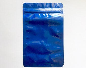 "100-4x6"" ELECTRIC BLUE STAND Up Pouch/Bag, Heavy Duty Packaging, Tear Notch, Zipper Seal, Impulse Sealable, Two Wild Hares"