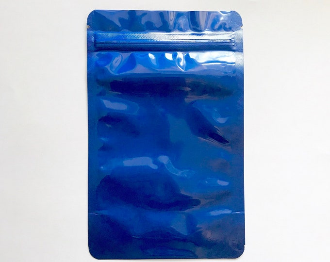 """100-4x6"""" ELECTRIC BLUE STAND Up Pouch/Bag, Heavy Duty Packaging, Tear Notch, Zipper Seal, Impulse Sealable, Two Wild Hares"""