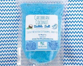 CARRIBEAN COCONUT BuBBle Salt, Pineapple & Coconut, Mineral Rich Salts and Bubbles, 7 oz